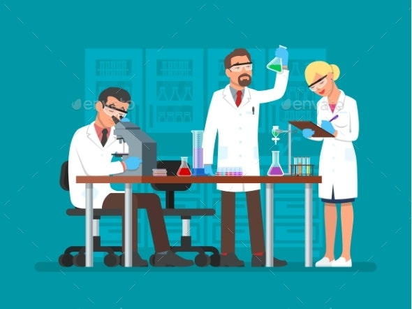 Vector Illustration of Scientists Working - Miscellaneous Conceptual