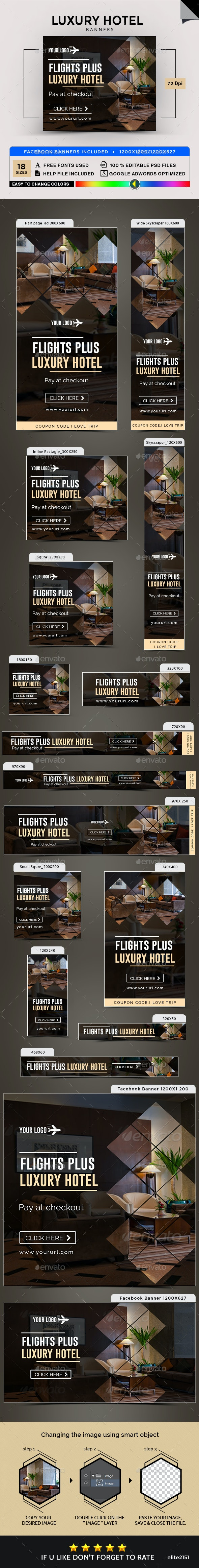 Luxury Hotel Banners - Banners & Ads Web Elements