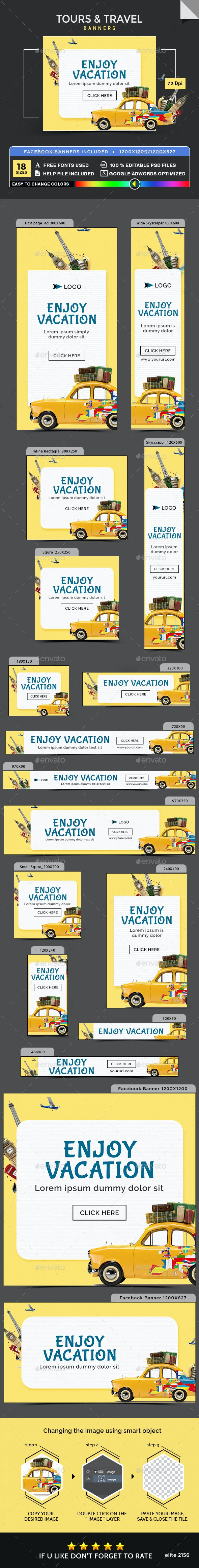 Tours & Travel Banners - Banners & Ads Web Elements