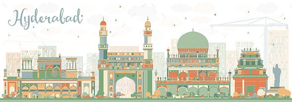 Abstract Hyderabad Skyline with Color Landmarks. - Buildings Objects