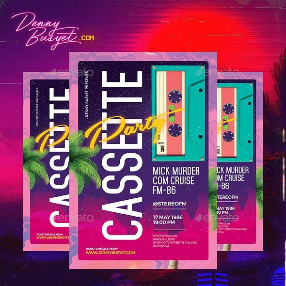 Cassette Party Retro 80's Synthwave Flyer