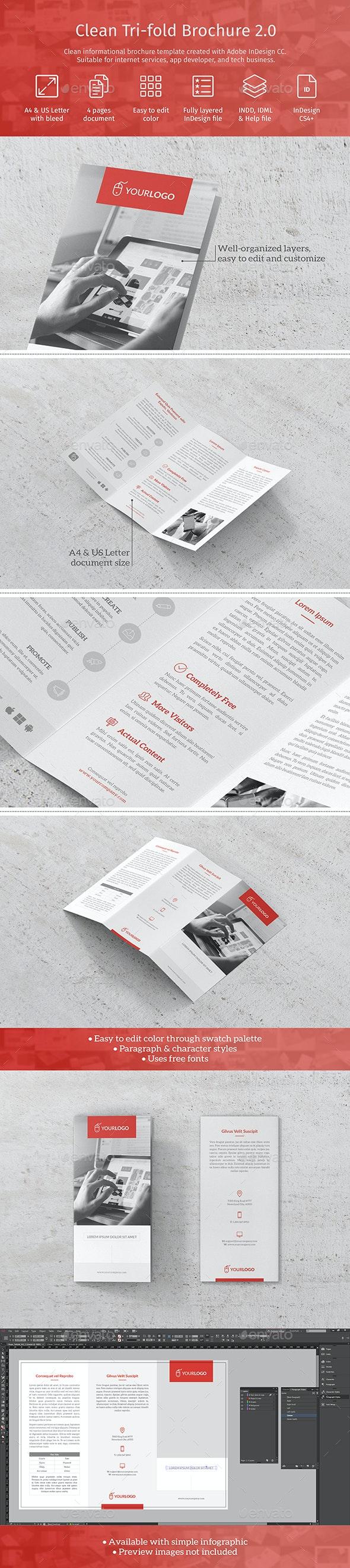 Clean Trifold Brochure - Informational Brochures
