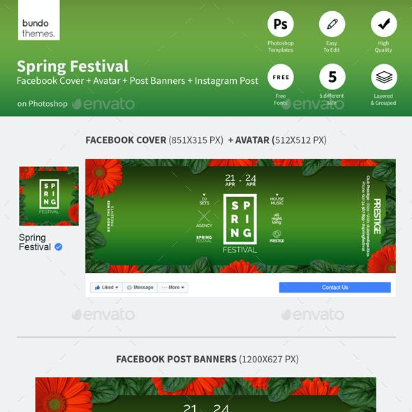Spring Festival Facebook and Instagram Banners