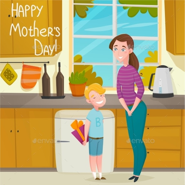 Mothers Day Cartoon Background - Backgrounds Decorative