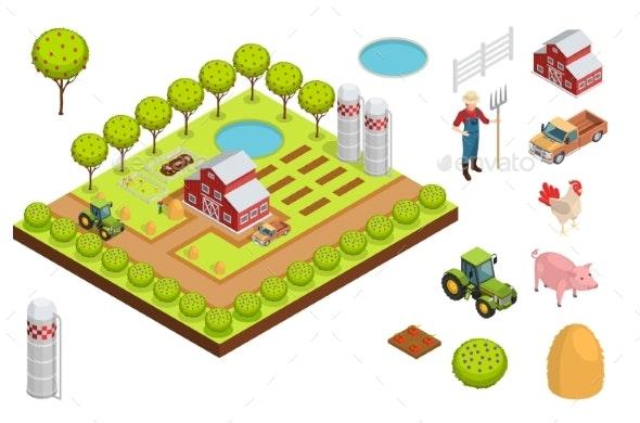 Farm Isometric Composition - Decorative Vectors