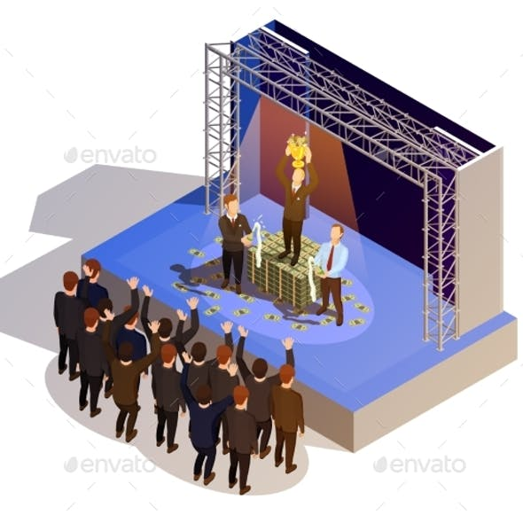 Business Award Winner Podium Isometric Isometric