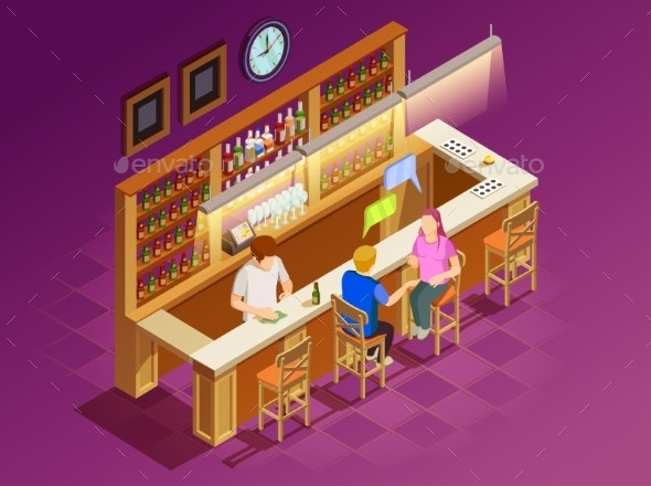 Friends In Bar Interior Isometric View - Miscellaneous Conceptual
