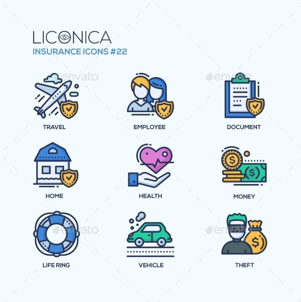 Insurance - Coloured Modern Single Line Icons Set - Concepts Business