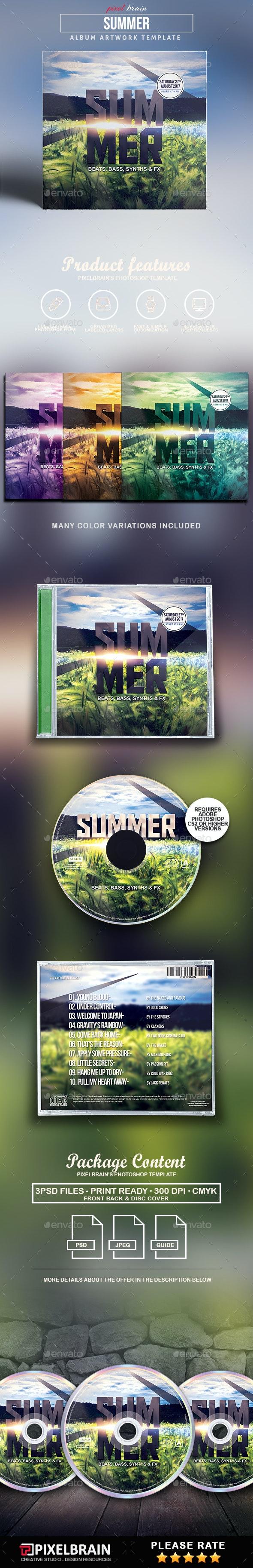Summer CD Cover Artwork - CD & DVD Artwork Print Templates
