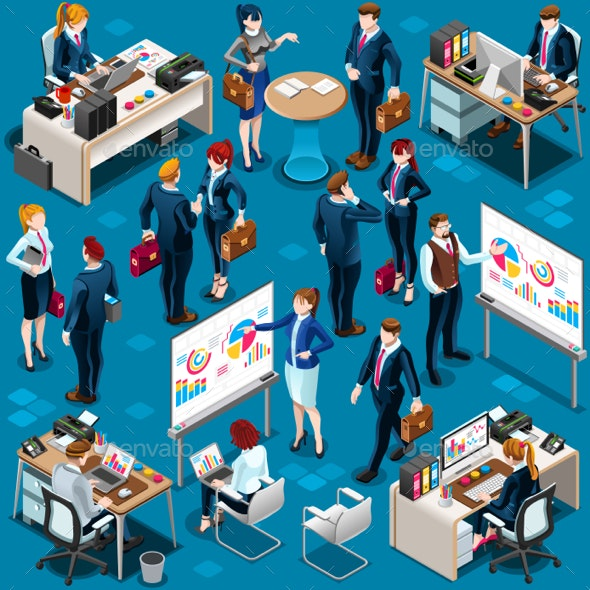Isometric People Diverse Group Icon 3D Set Vector Illustration - Vectors