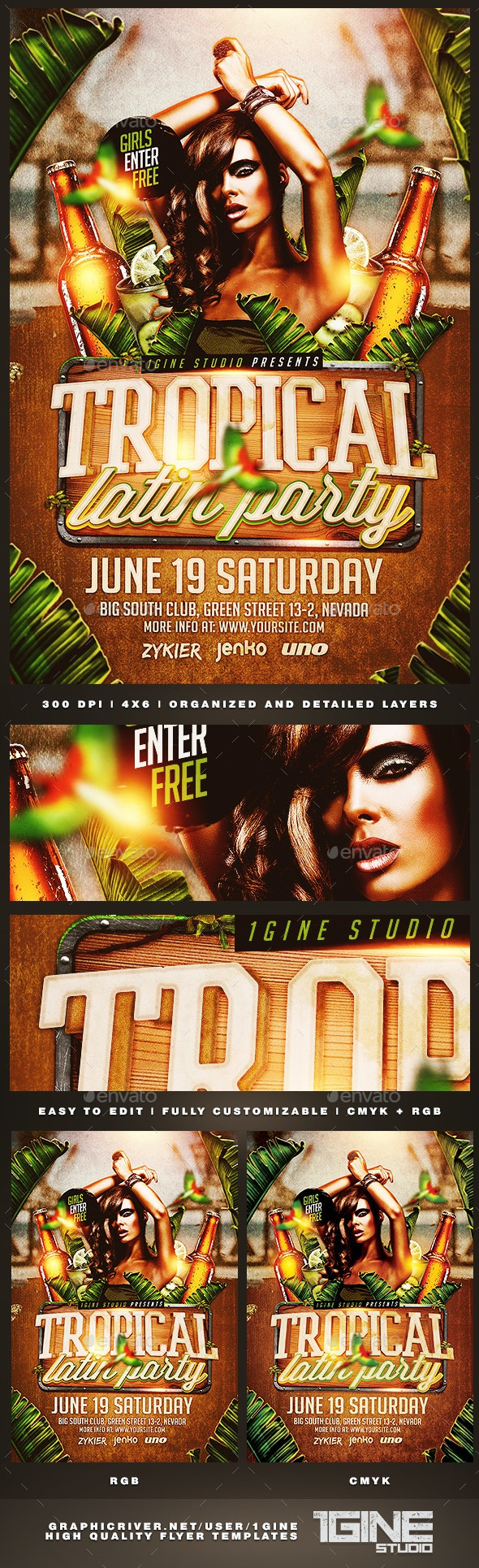 Tropical Latin Party Flyer Template - Clubs & Parties Events