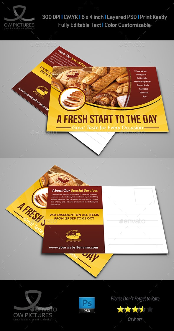 Bakery Postcard Template Vol.2 - Cards & Invites Print Templates