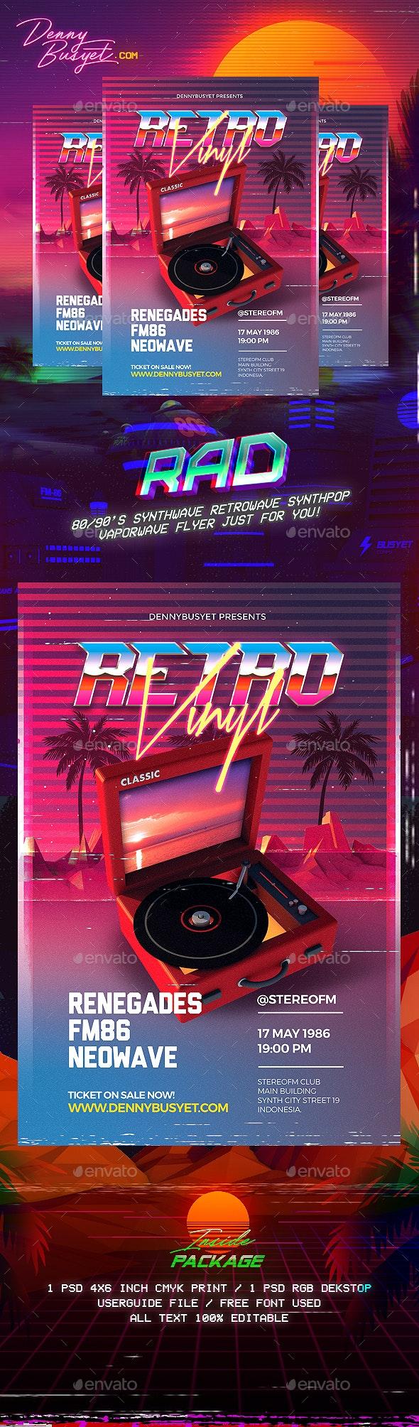 Retro Vinyl 80's Synthwave Flyer - Events Flyers