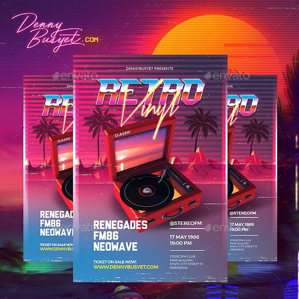 Retro Vinyl 80's Synthwave Flyer