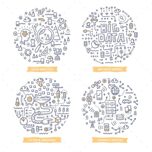 Big Data Doodle Illustrations - Computers Technology