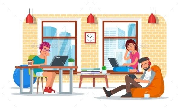 Coworking Center Concept Vector Illustration - Concepts Business