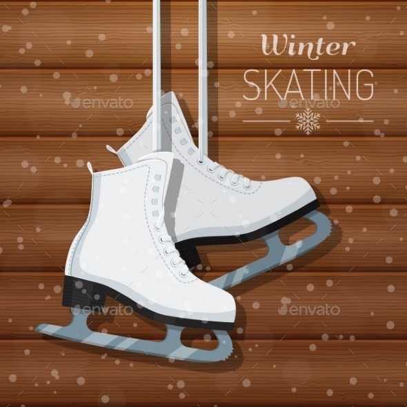 White Ice Skates on Wooden Background - Sports/Activity Conceptual