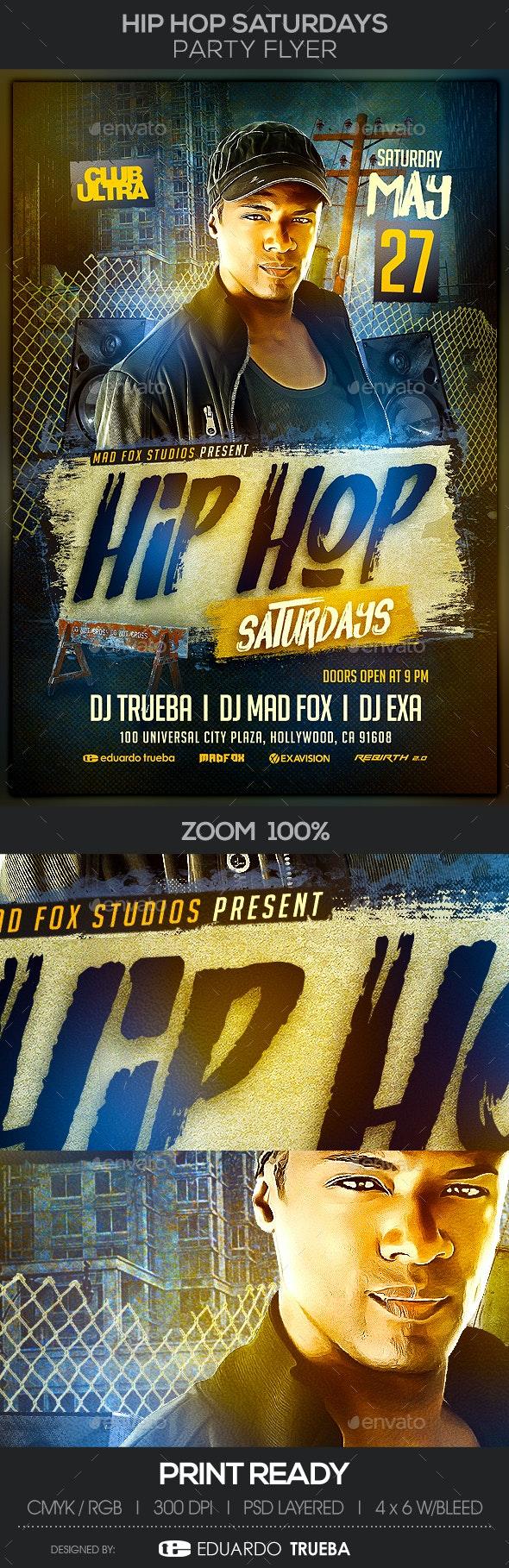 Hip Hop Saturdays Party Flyer - Clubs & Parties Events