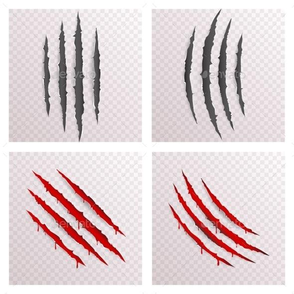Animal Monster Claws Bleeding Scratches - Decorative Symbols Decorative
