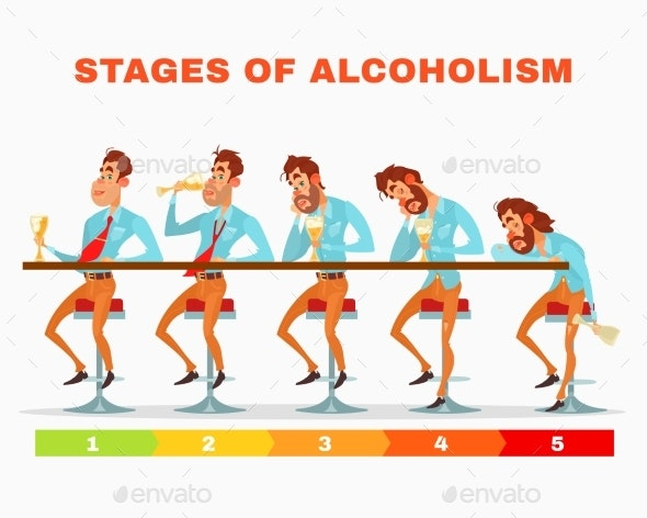 Men at Different Stages of Alcoholism - People Characters