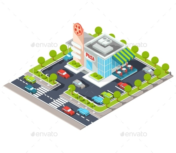 Isometric Illustration of a Modern Restaurant - Buildings Objects