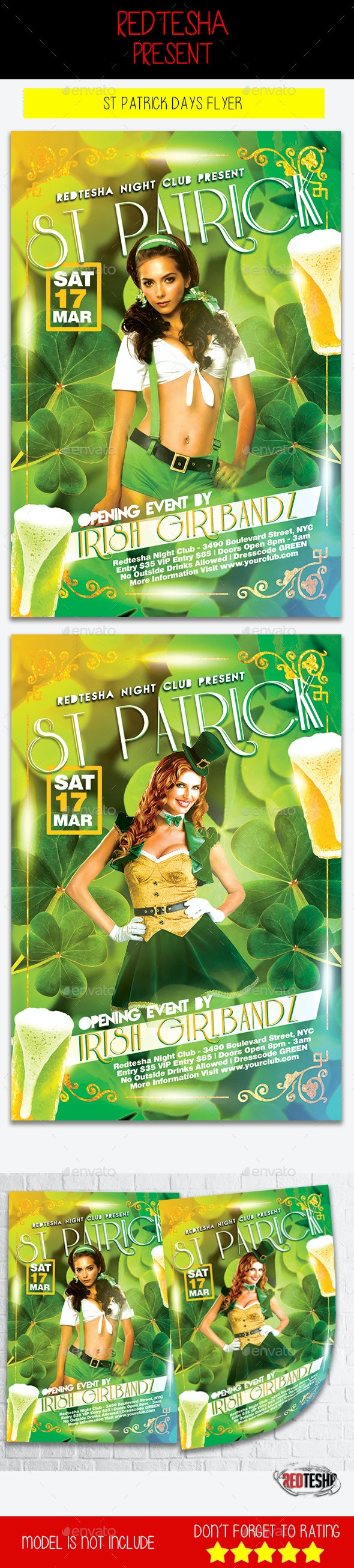 St Patrick Days Flyer - Clubs & Parties Events
