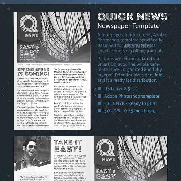 Quick Newspaper Template - 4 Pages Journal / Newsletter
