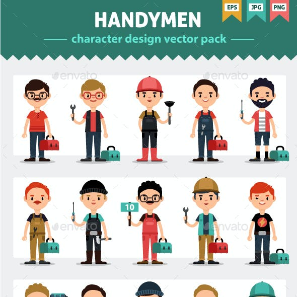 Handymen and Tools Flat Style Vector Set