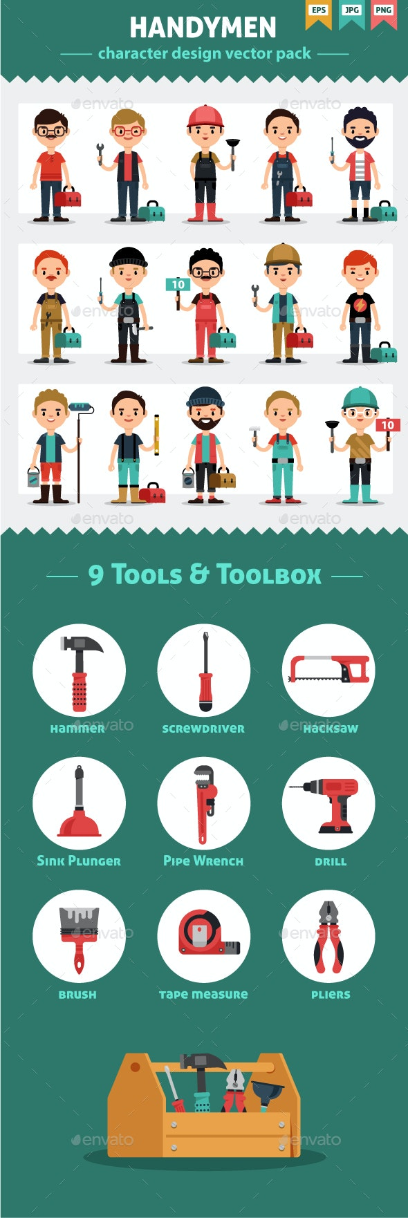 Handymen and Tools Flat Style Vector Set - People Characters