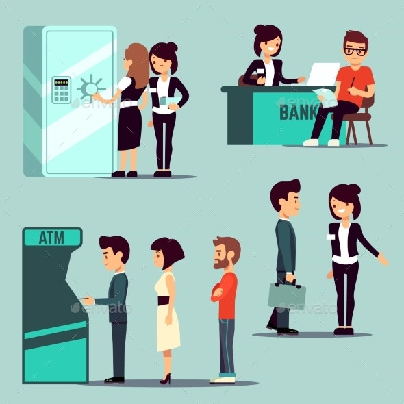 People in the Bank, Vector Banking Service - People Characters