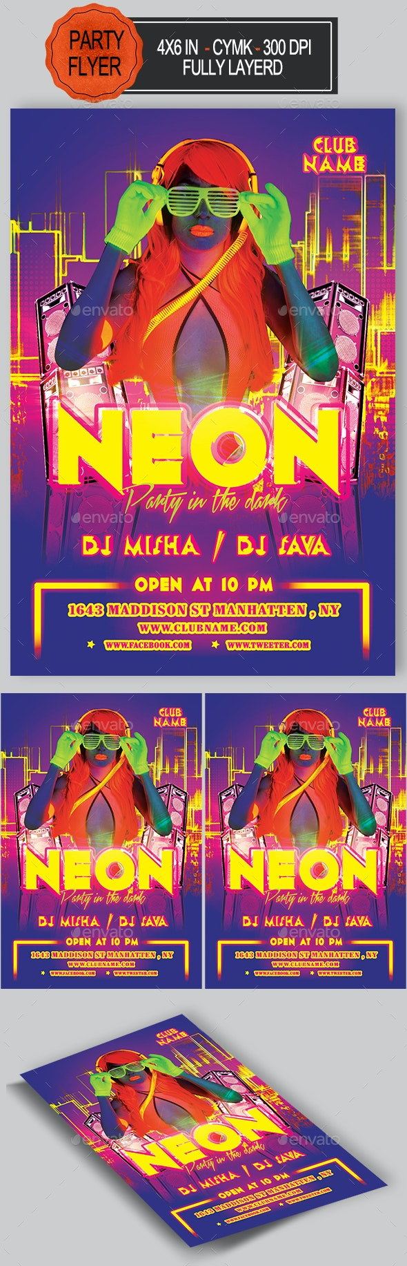 Neon Night Flyer - Clubs & Parties Events