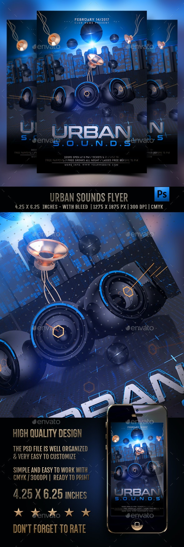 Urban Sounds Flyer Template - Clubs & Parties Events