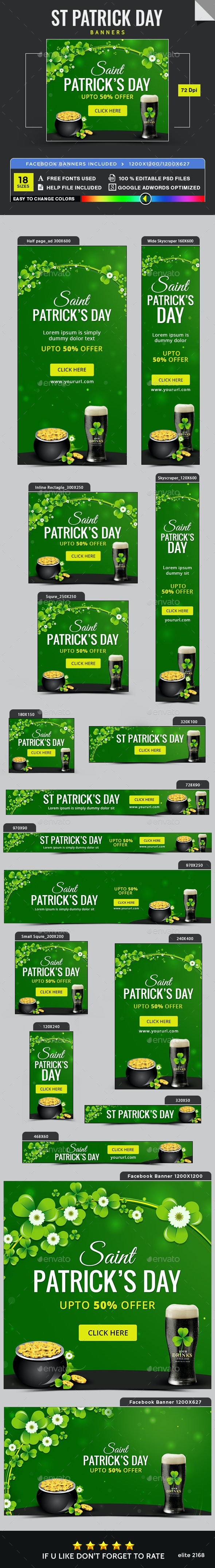 St.Patrick's Day Banners - Banners & Ads Web Elements