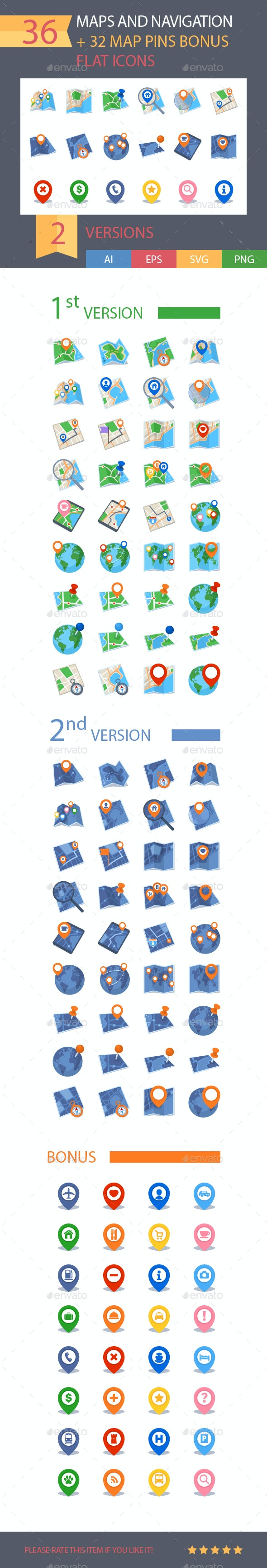 Maps & Navigation Icons - Flat Series - Miscellaneous Icons
