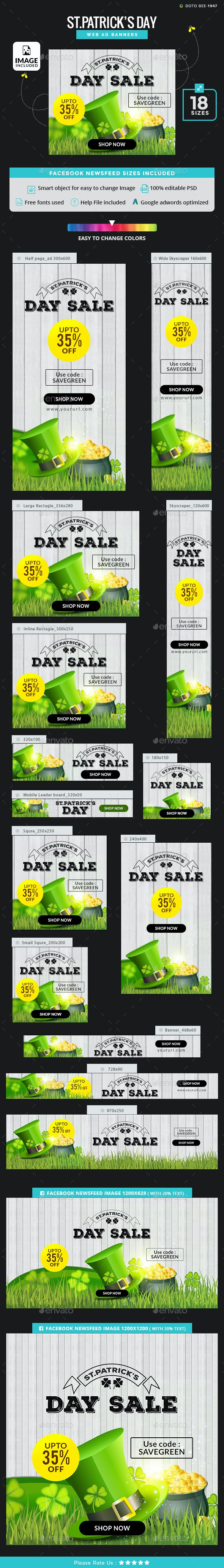 St.Patrick's Day Banners - Images Included - Banners & Ads Web Elements