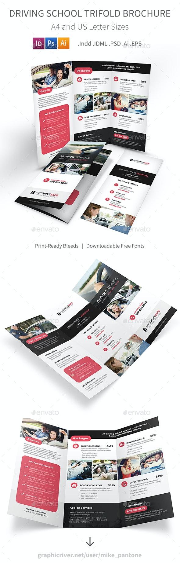 Driving School Trifold Brochure - Informational Brochures