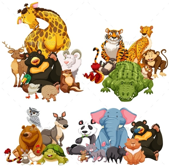 Four Group of Wild Animals - Animals Characters