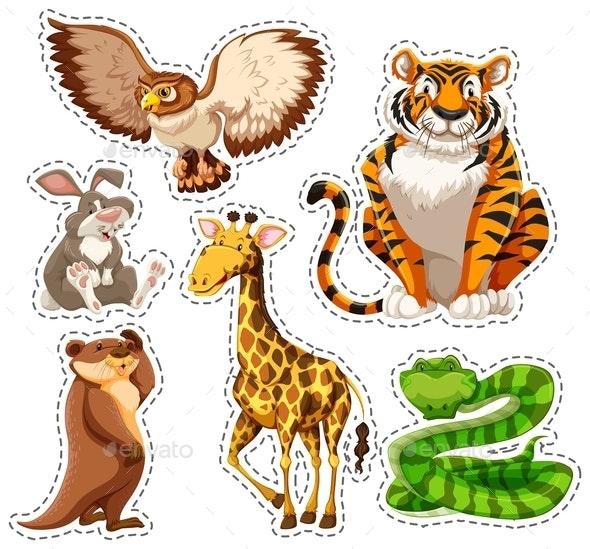 Sticker Set of Wild Animals - Animals Characters