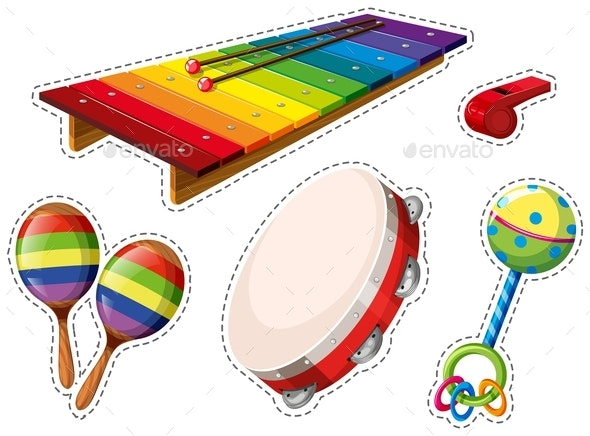 Sticker Set of Musical Instrument - Objects Vectors