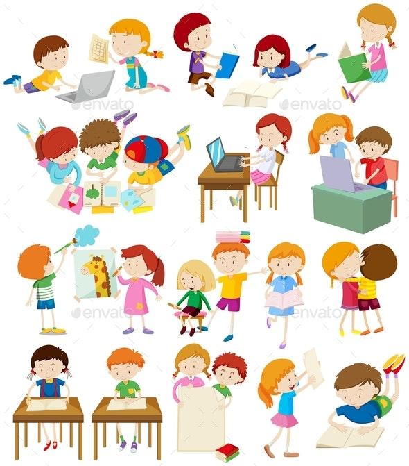 Children Doing Activities at School - People Characters