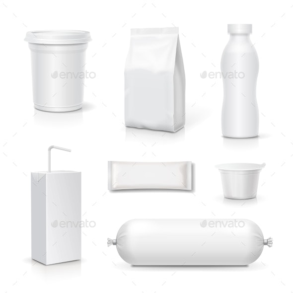 Food and Drink Blank Packaging Set. - Food Objects