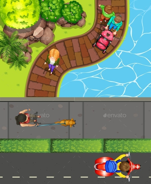 Top View of People Hanging out at the Park - People Characters
