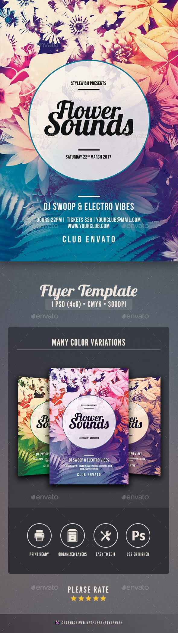 Flower Sounds Flyer - Clubs & Parties Events