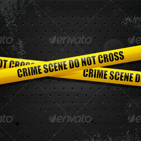 Crime Scene Tape on black grunge background