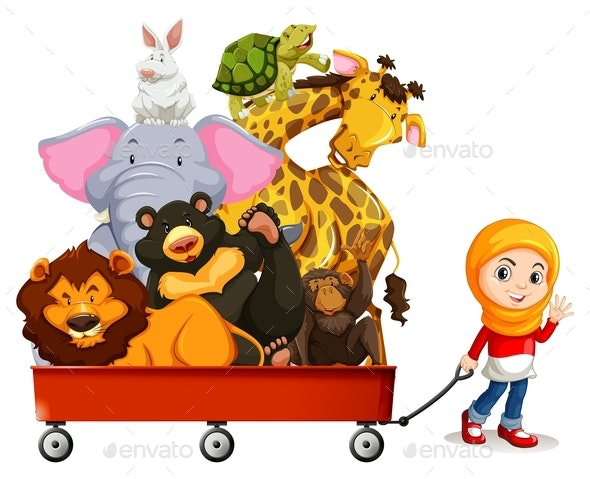 Wild Animals on Red Wagon - People Characters