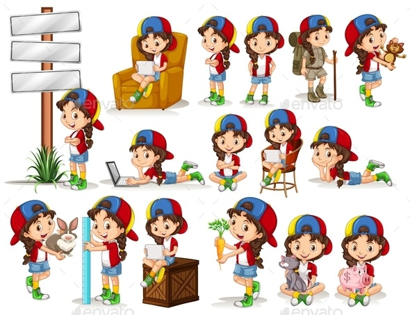 Little Girl doing Different Activities - People Characters