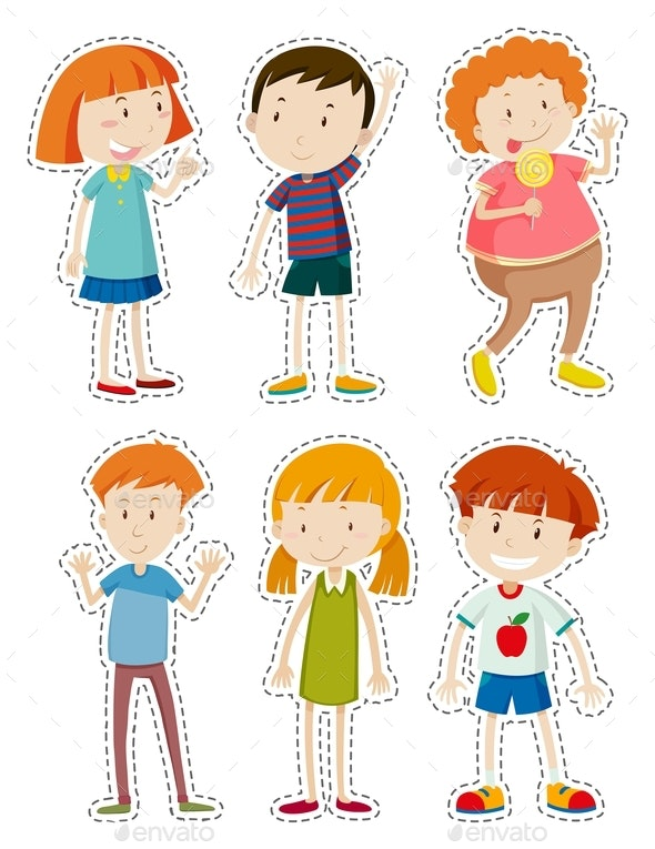 Sticker Set of Happy Children - People Characters