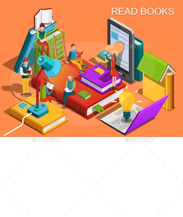 Reading People Isometric Flat Design - Concepts Business