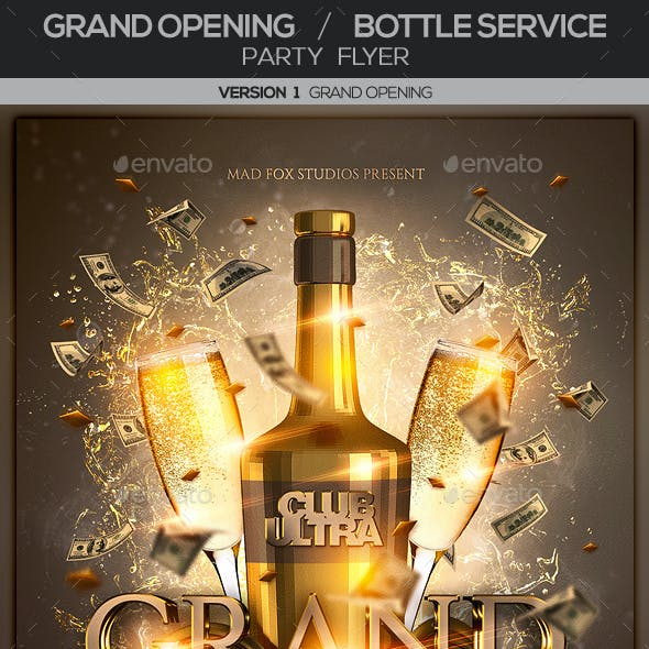 Grand Opening & Bottle Service Party Flyer