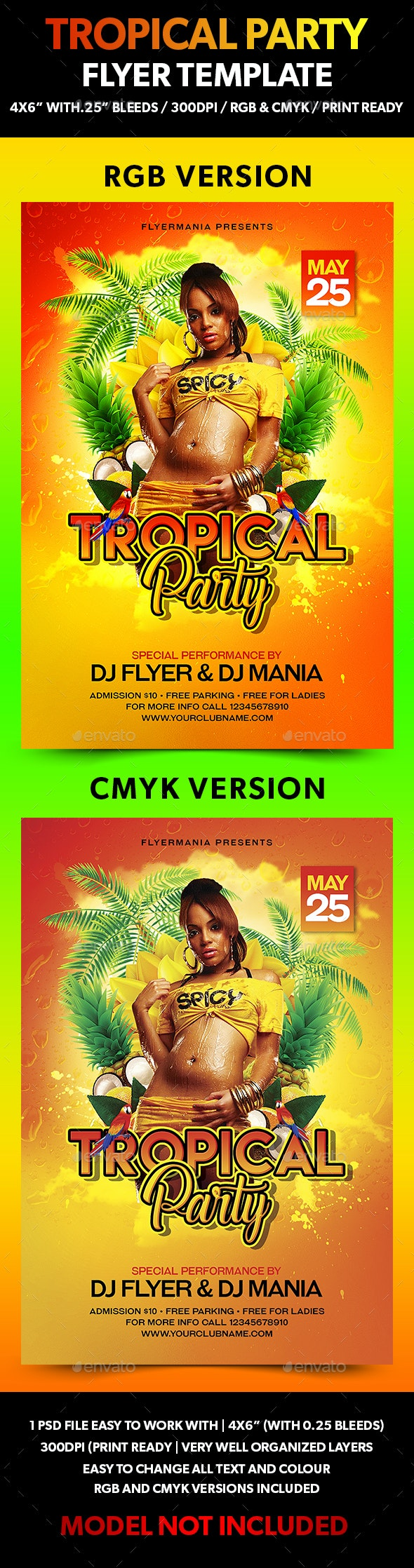 Tropical Party Flyer Template - Flyers Print Templates